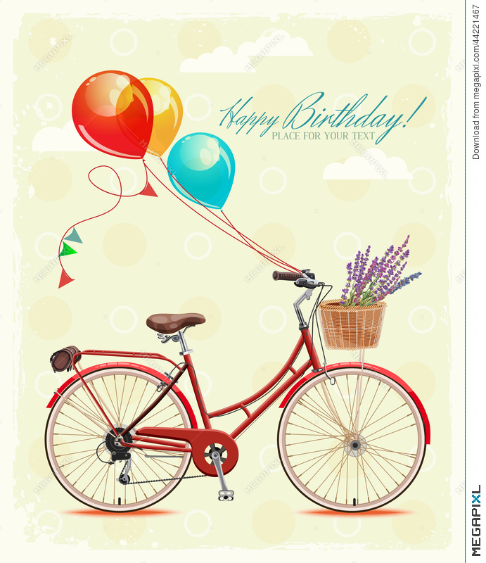 Birthday greeting card with bicycle and balloons in vintage style birthday greeting card with bicycle and balloons in vintage style vector illustration m4hsunfo