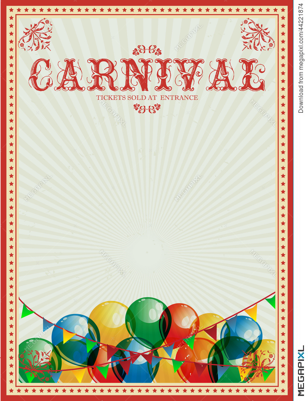 carnival background colorful balloons circus vintage poster