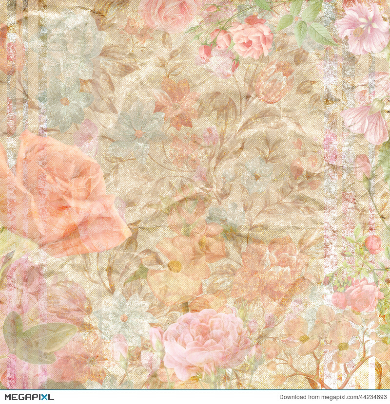 Floral Scrapbook Paper Background Stock Photo 44234893 Megapixl