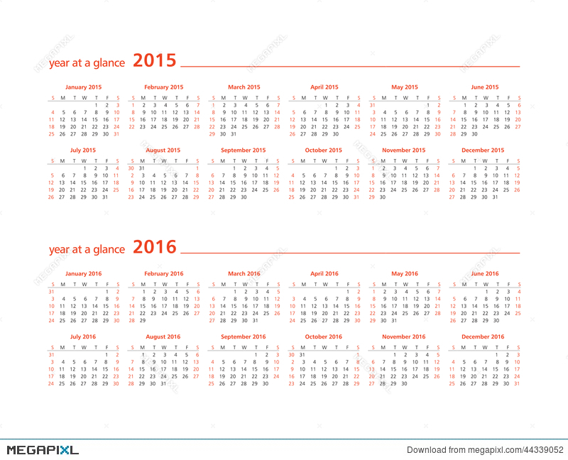 2015 and 2016 year at a glance illustration 44339052 megapixl