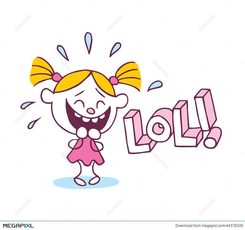 lol laughing out loud little cute girl illustration 44376330 megapixl