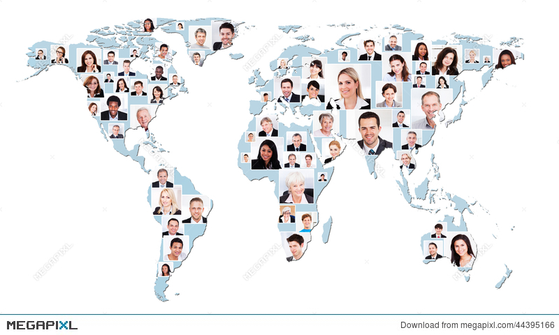 Multiethnic business people on world map stock photo 44395166 multiethnic business people on world map gumiabroncs Gallery