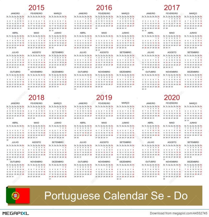 Calendar 2015 2020 Illustration 44552745 Megapixl