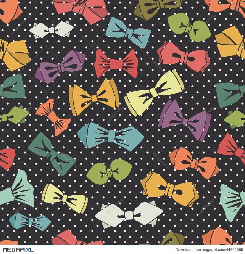 Bow Tie Seamless PatternPolka Dot Background