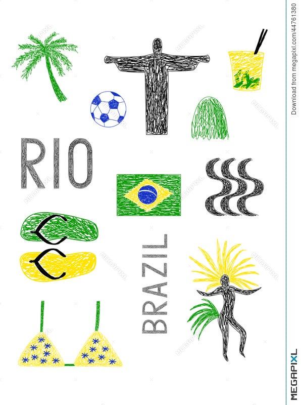 Symbols Of Brazil Ad Rio De Janeiro Illustration 44761380 Megapixl