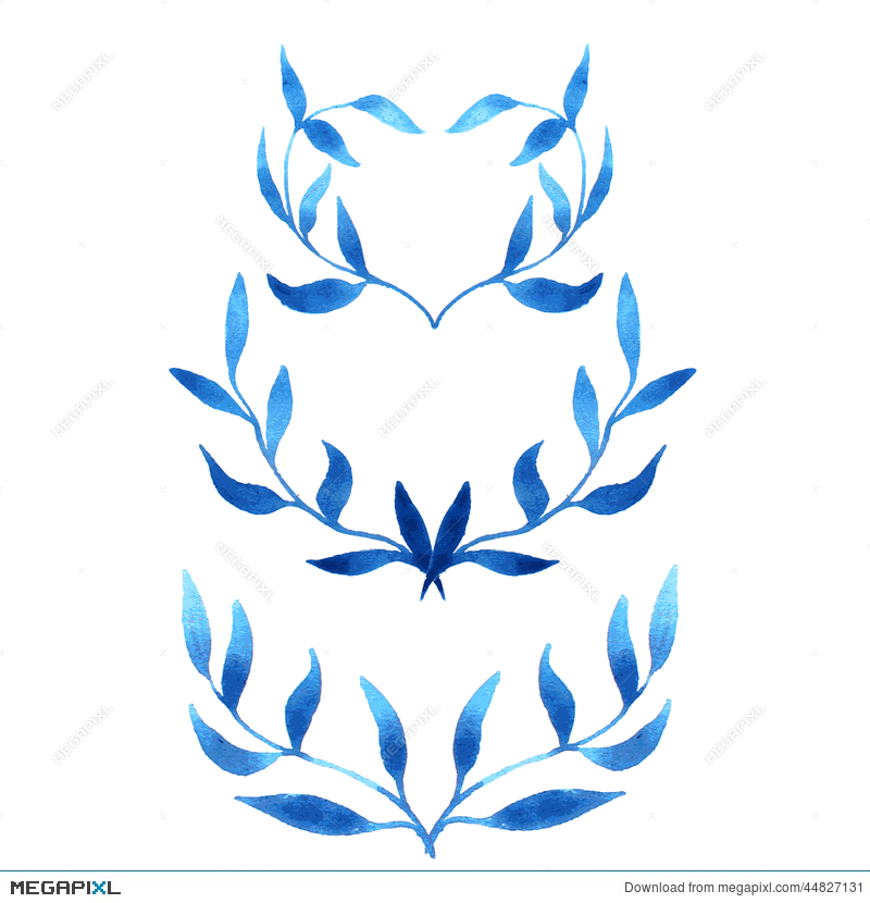 vector blue gzhel watercolor leaf pattern template illustration
