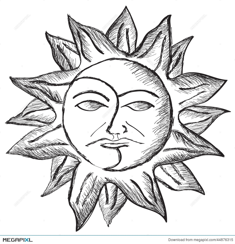Sun And Moon Face Sketch