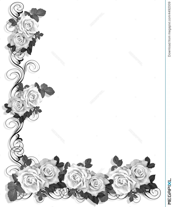 Black And White Roses Border Design Illustration 4492009 Megapixl