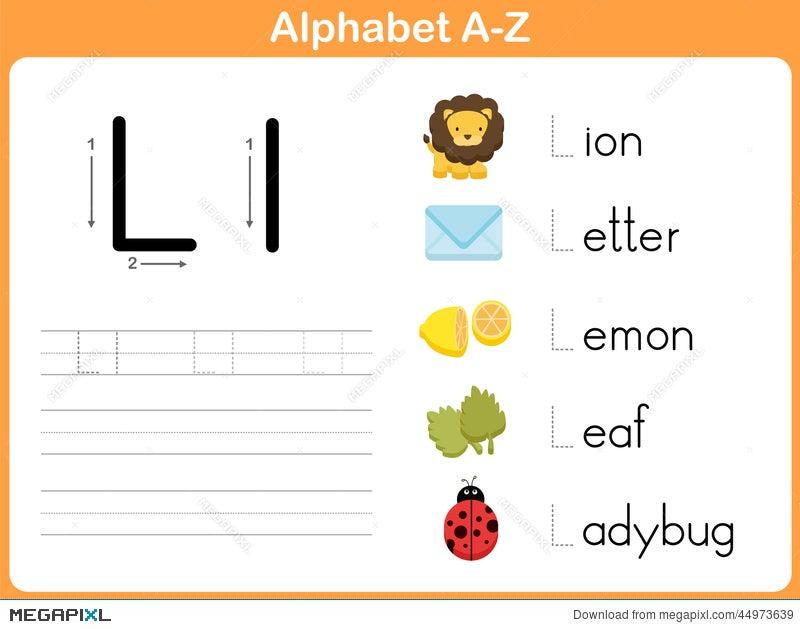Alphabet Tracing Worksheet: Writing A-Z Illustration 44973639 - Megapixl