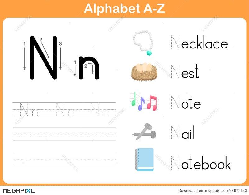 Alphabet Tracing Worksheet: Writing A-Z Illustration 44973643 - Megapixl