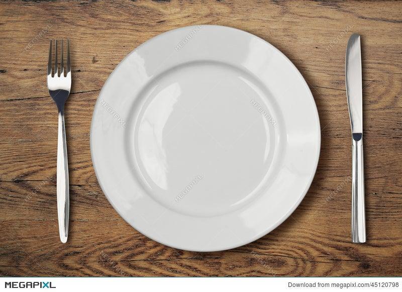 White Empty Dinner Plate Setting On Wooden Table Stock Photo 45120798 Megapixl