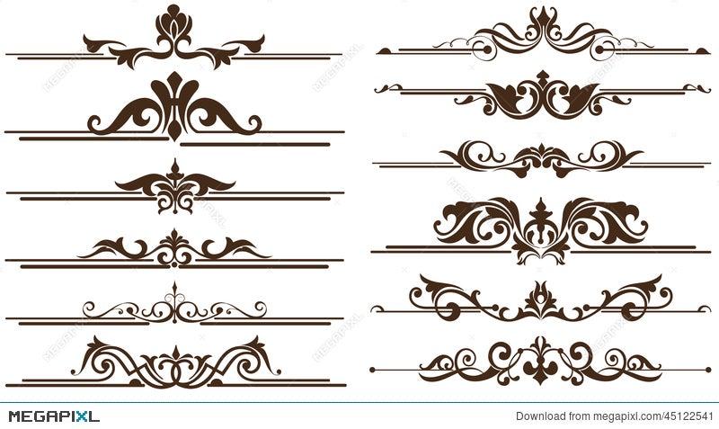 vintage ornaments corners borders design illustration 45122541