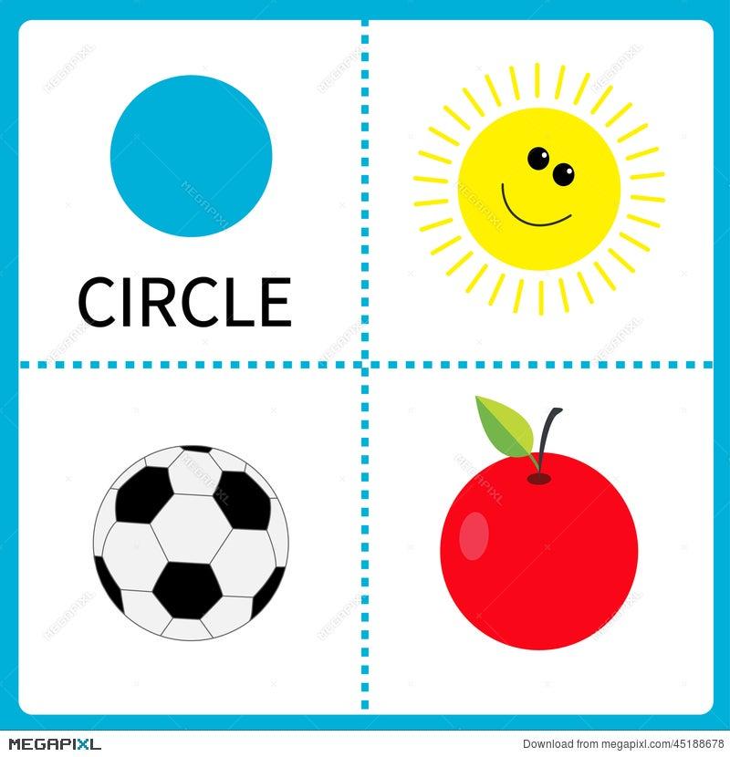 Learning Circle Form. Sun, Football Ball And Apple. Educational ...