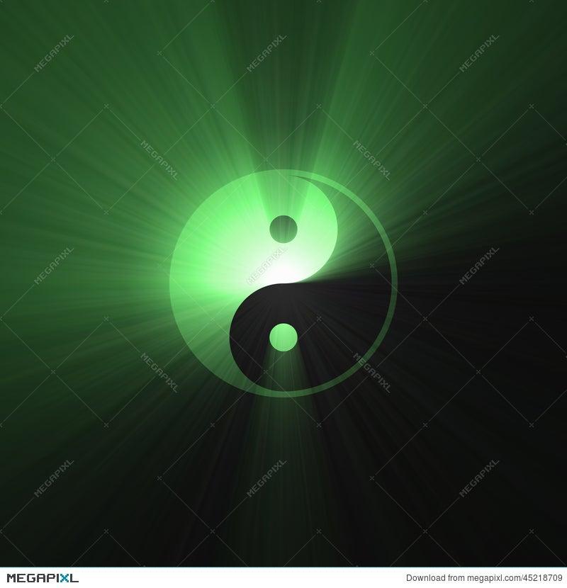 Green Tai Chi Yin Yang Symbol Bright Flare Illustration 45218709