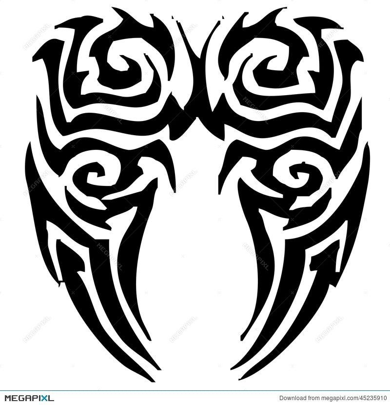Tribal Angel Wings Tattoo Illustration 45235910 Megapixl