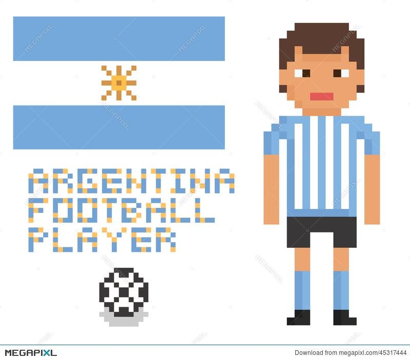 Pixel Art Soccer Or Football Argentina Player Illustration