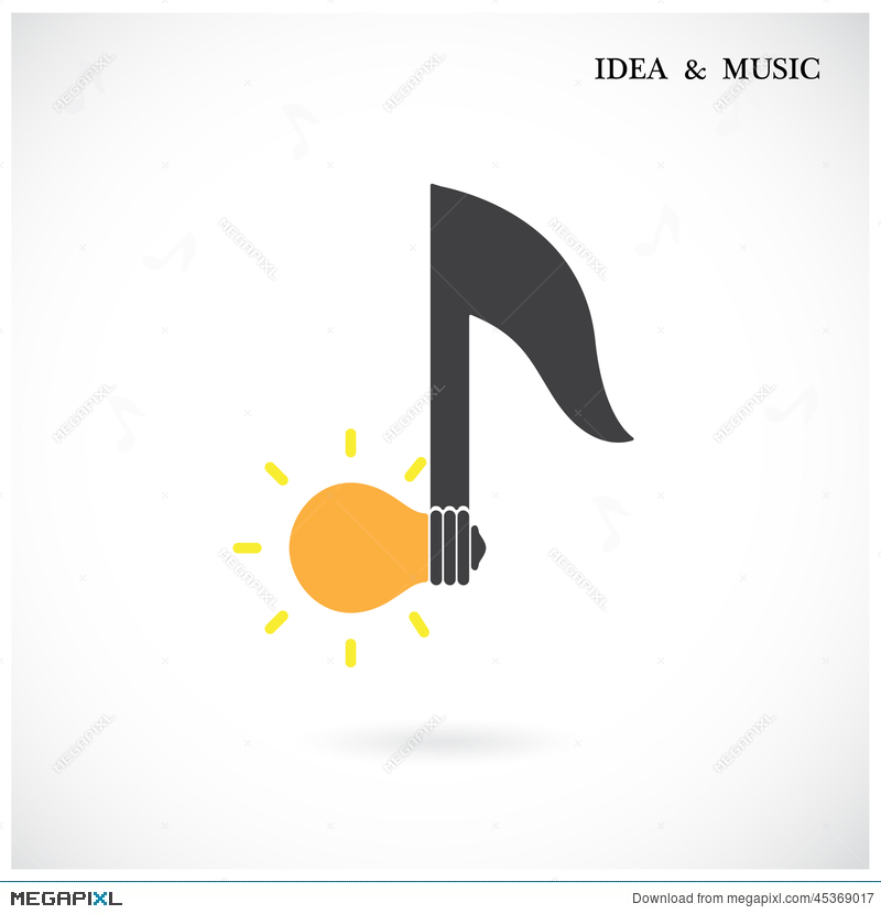 Creative Music Note Sign And Light Bulb Symbol Idea And Musica