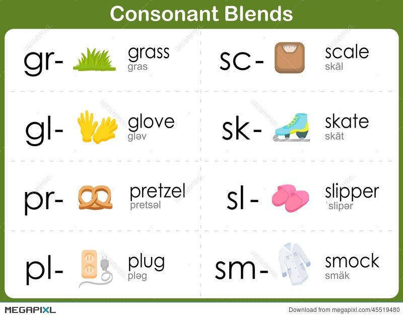 Printable Worksheets st blend worksheets : Consonant Blends Worksheet For Kids Illustration 45519480 - Megapixl