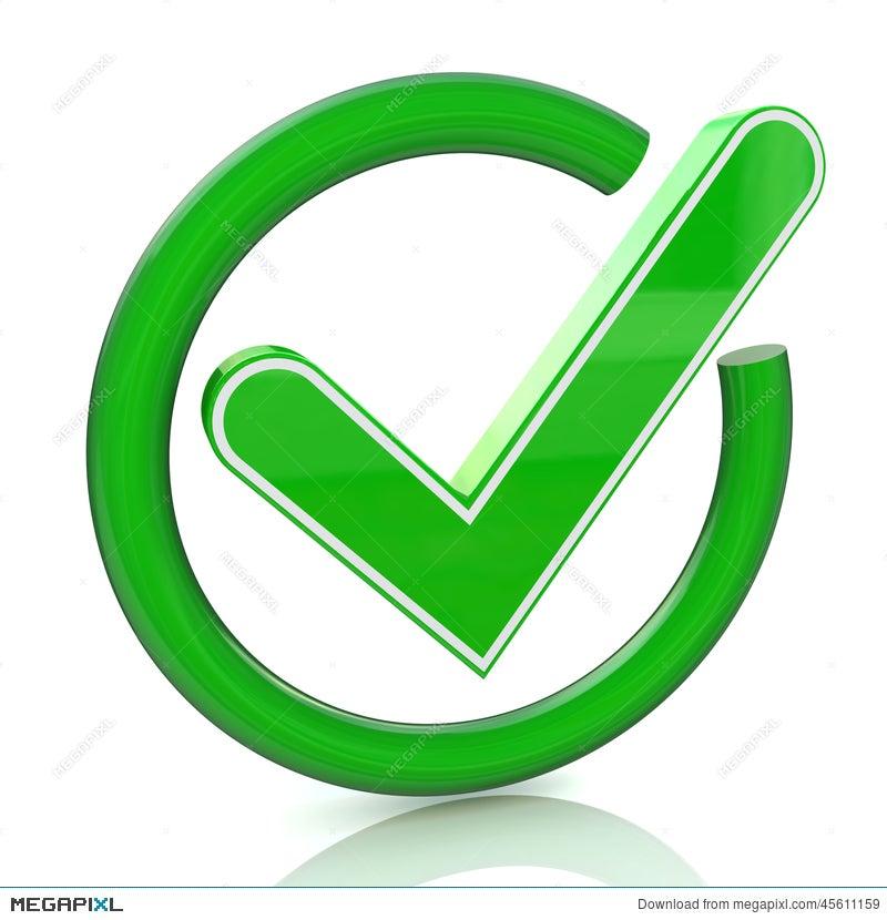 Green Tick Sign Icon 3d Glass Check Mark Symbol Illustration