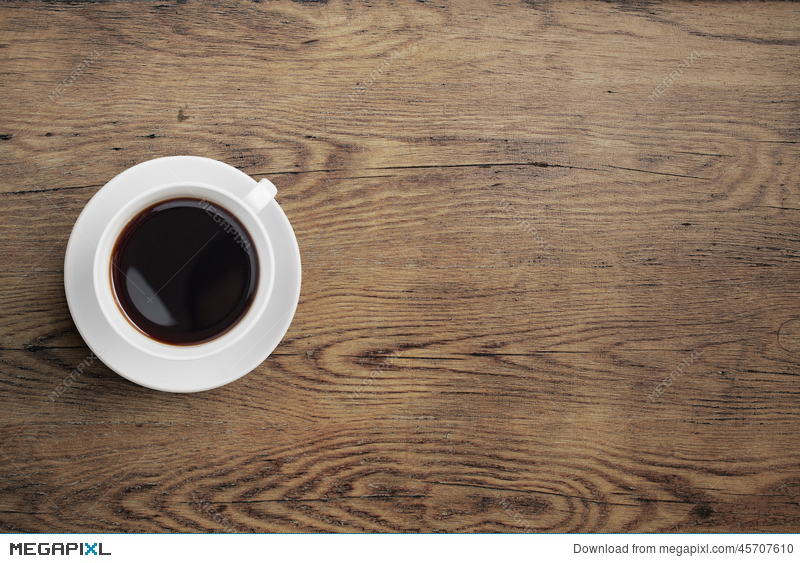 Table Top View black coffee cup on old wooden table top view stock photo 45707610
