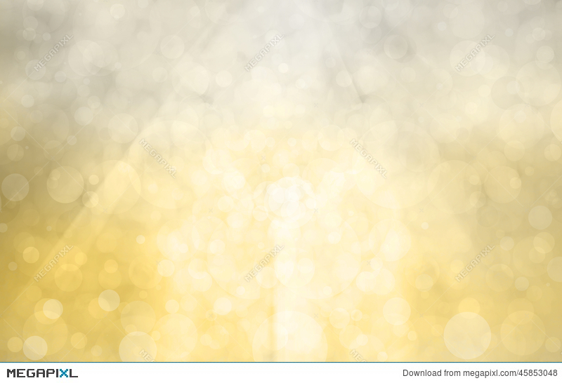 Silver Gold Background With Bright Sunshine On Bokeh Circles Or Bubbles In White Light