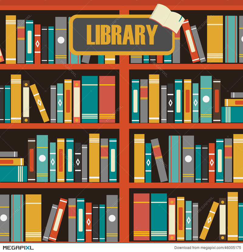 Royalty Free Vector Of Library Book Shelf Illustration