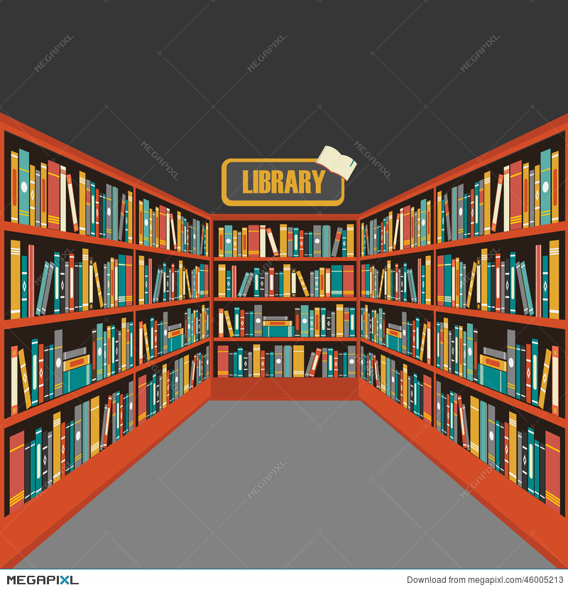 Vector of library book shelf background Vector