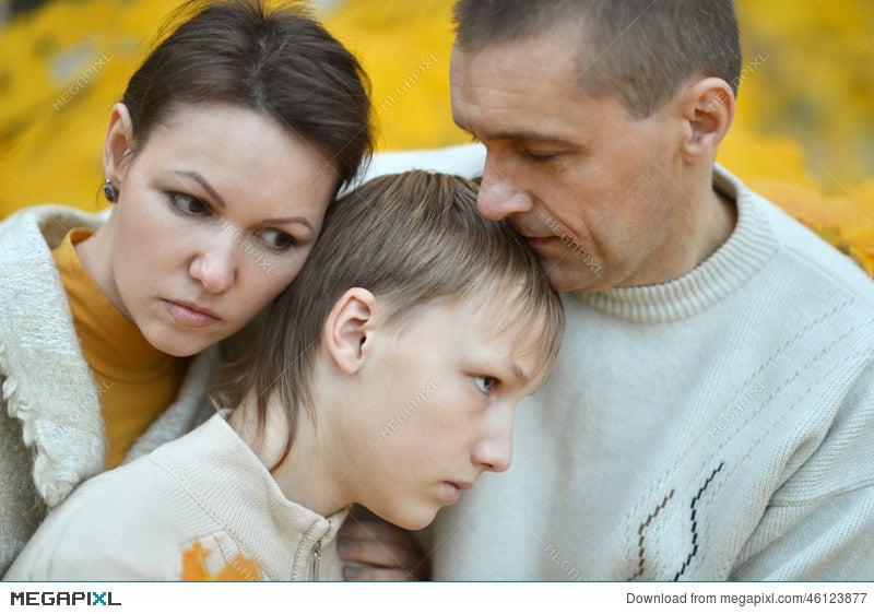 Sad Family Of Three Stock Photo 46123877 - Megapixl