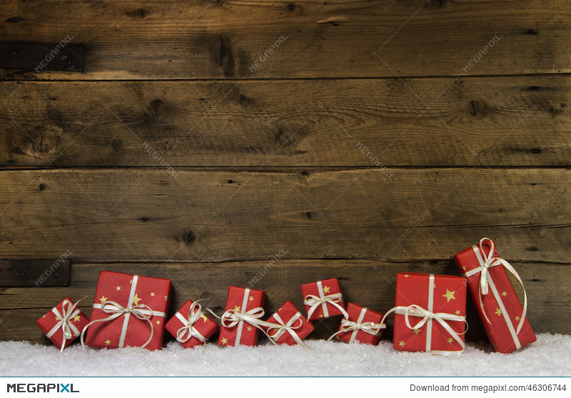 Wooden Rustic Background With Red Christmas Presents