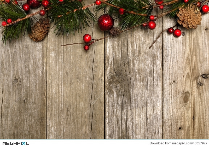 Christmas Background Of Branches On Wood Stock Photo