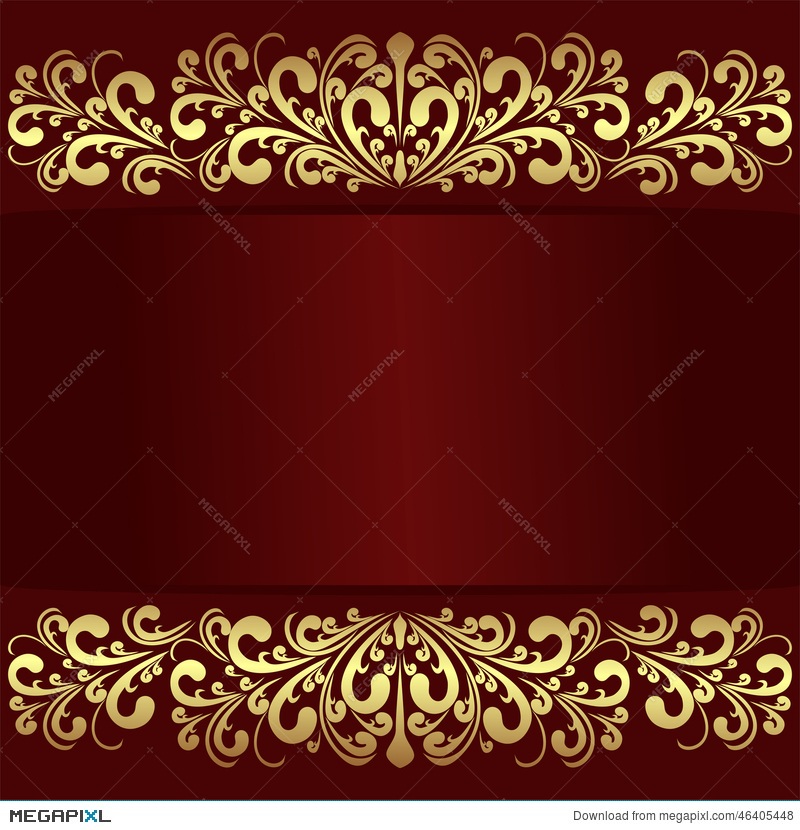 Luxury Red Background With Golden Royal Borders