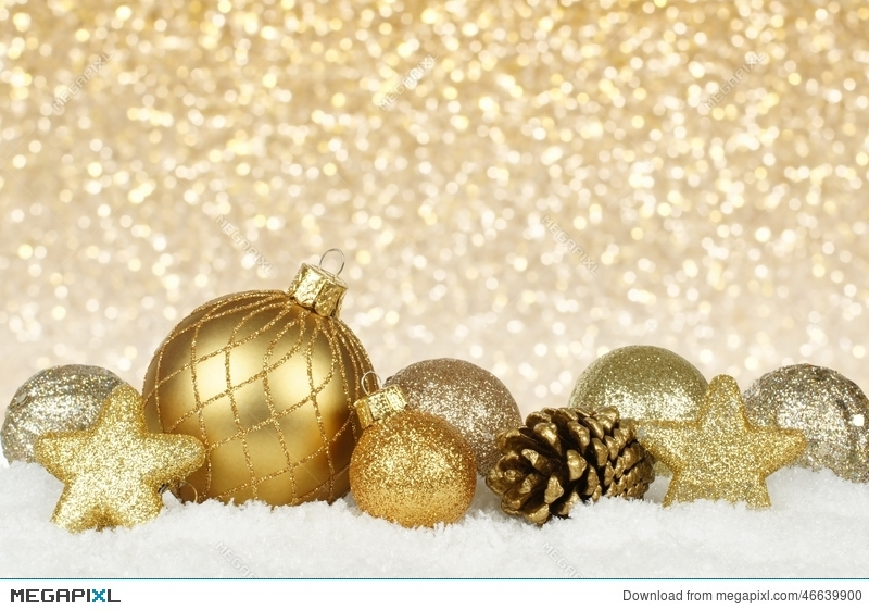 gold christmas ornaments with twinkling background - Gold Christmas Ornaments