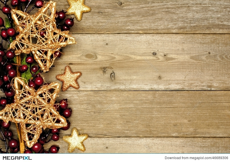 Wood Christmas Background With Star Border Stock Photo