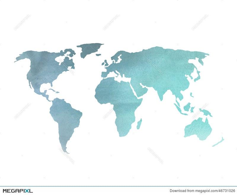 Blue watercolor world map stock photo 46731026 megapixl blue watercolor world map gumiabroncs Images