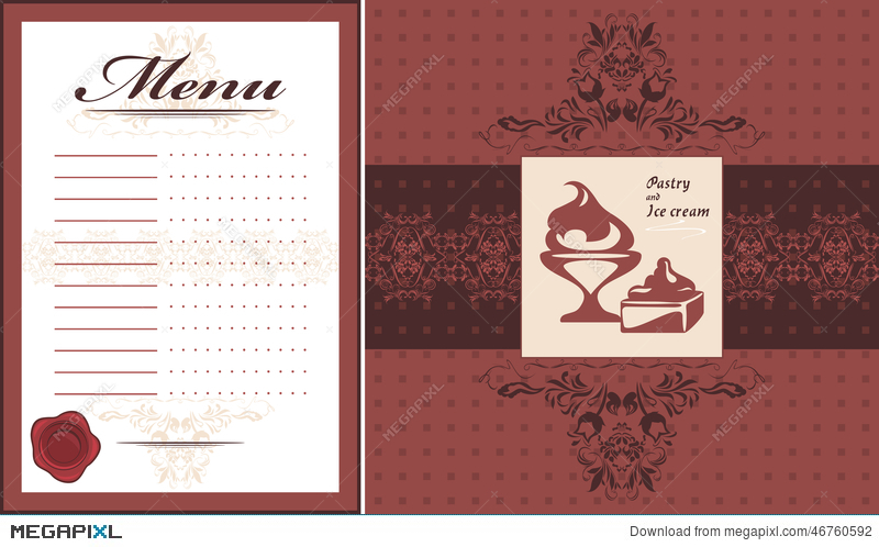 Pastry And Ice Cream. Menu Card Template And Label For Design ...