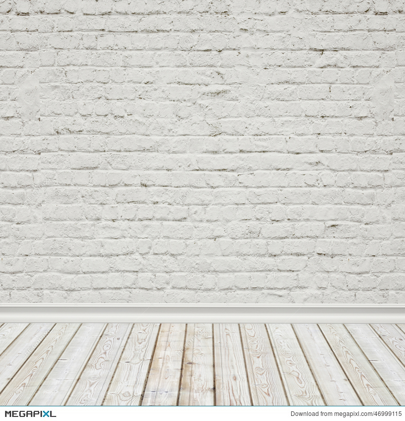White Painted Brick Wall And Vintage Wooden Floor Interior