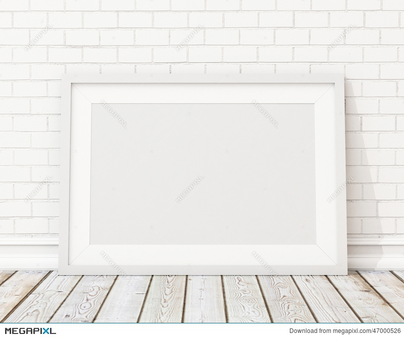 Mock Up Blank White Horizontal Picture Frame On The White Brick Wall ...