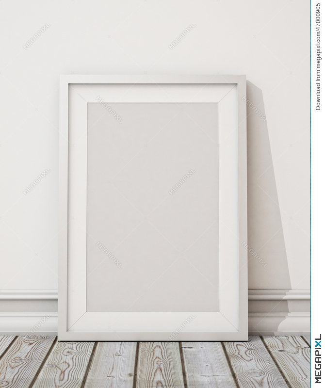 Mock Up Blank White Picture Frame On The White Wall And The Wooden ...