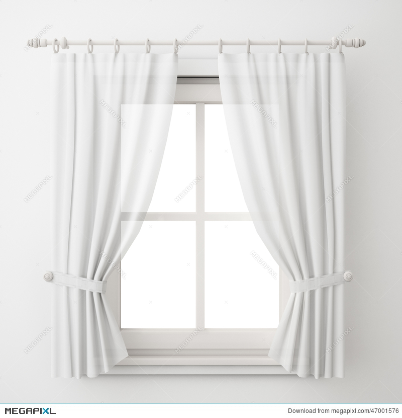 Vintage White Window Frame With Curtain Isolated On White Background ...