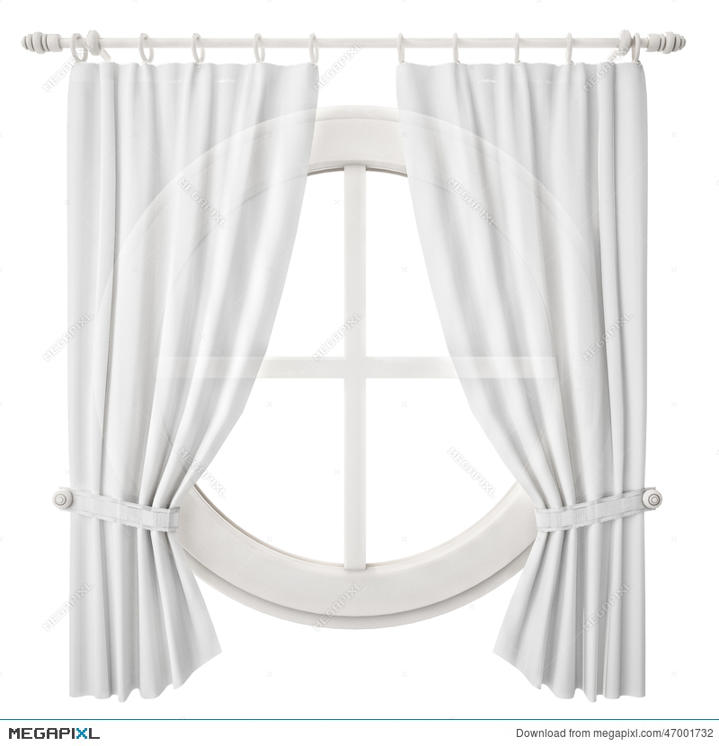 Circle Window Frame With Curtain Isolated On White Background ...