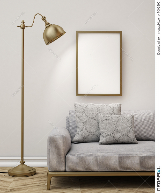 Mock Up Blank Poster On The Wall Of Living Room Background