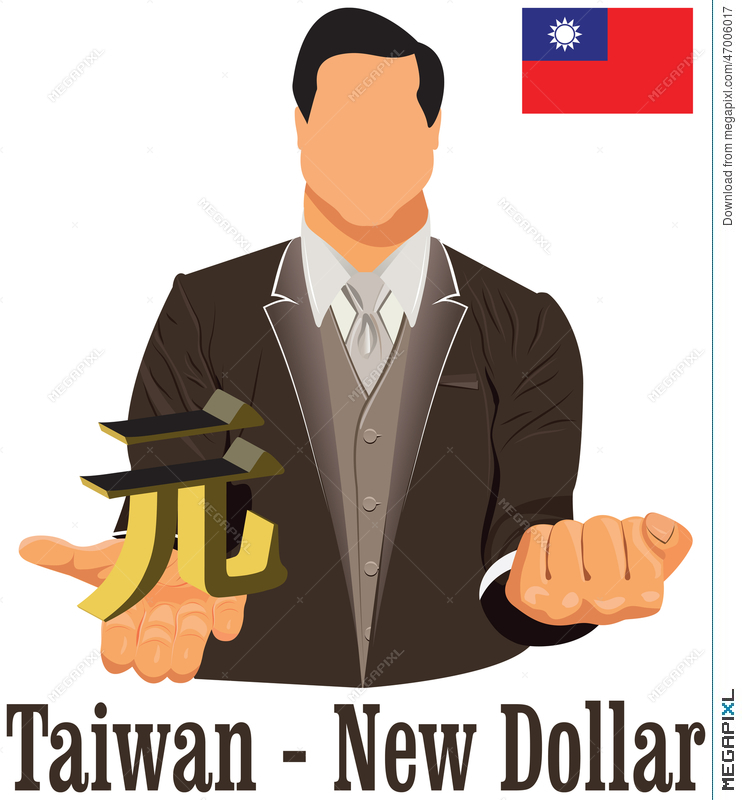 Taiwan Currency Symbol New Dollar Representing Money And Flag