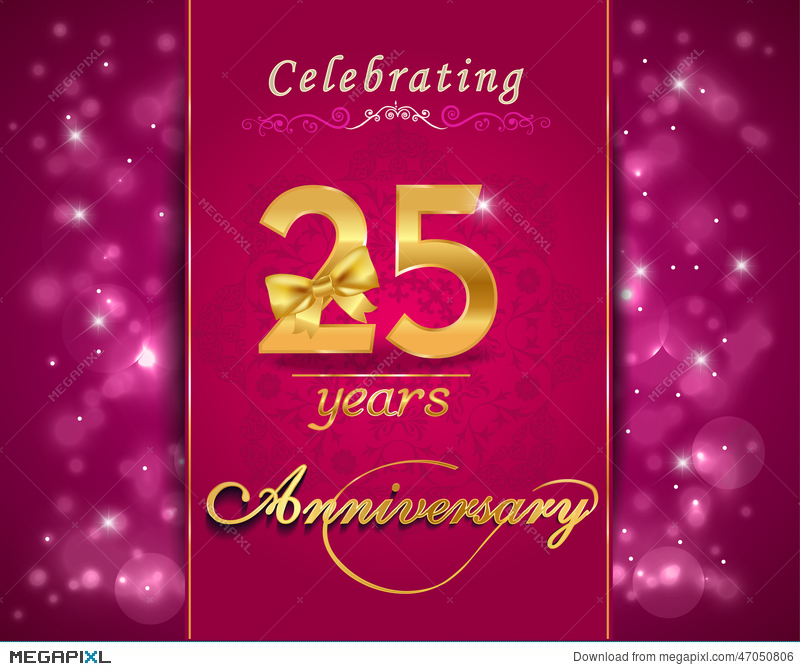 25 Year Anniversary Celebration Sparkling Card 25th Anniversary