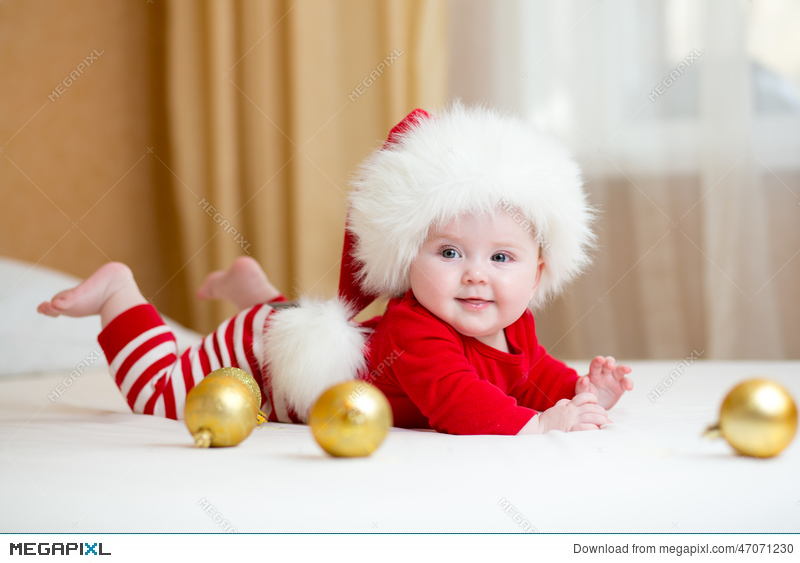 cute baby girl weared christmas clothes