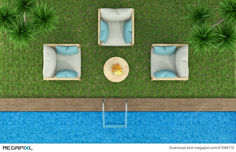 Top View Of A Garden With Pool
