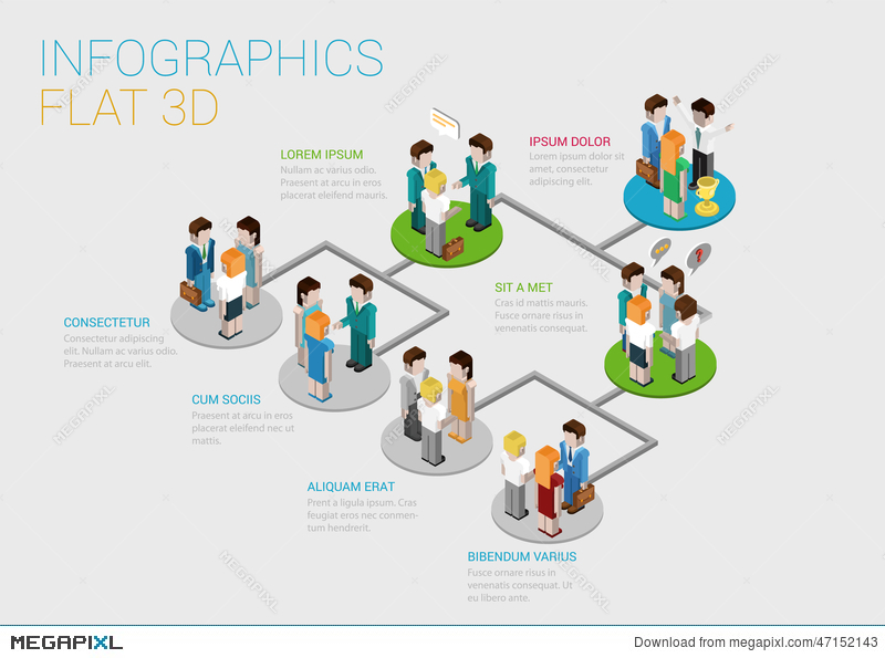 Flat 3D Isometric Web Infographic Organization Chart Concept ...
