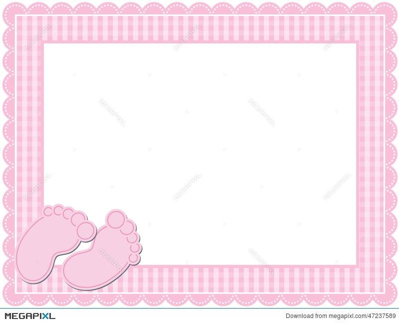 Baby Girl Gingham Frame Illustration 47237589 - Megapixl