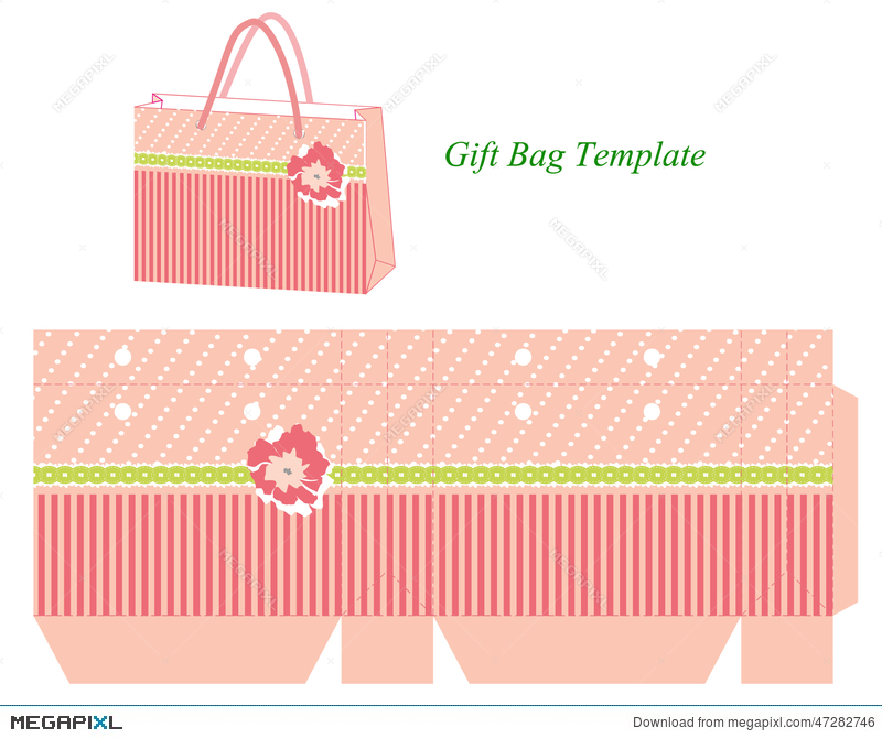 Gift Bag Template With Stripes And Flower Illustration 47282746 ...