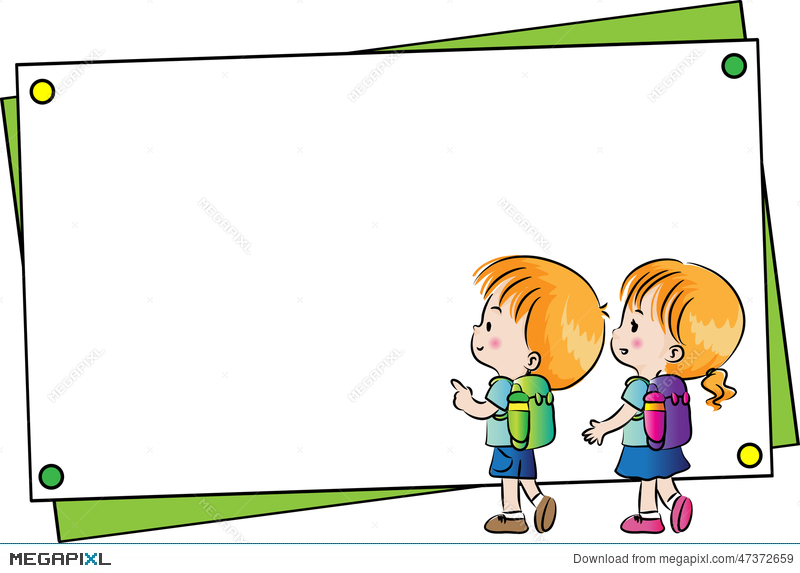 boy and girl with blank card border illustration 47372659 megapixl
