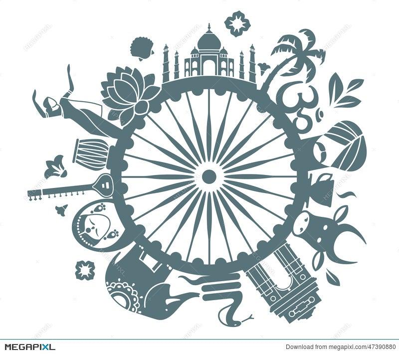 Symbols Of India Illustration 47390880 Megapixl